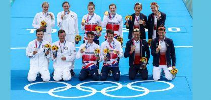 Triathlon olympique 2020 relais mixte TOKYO classement : Grande Bretagne, Etats Unis et la France sur le podium